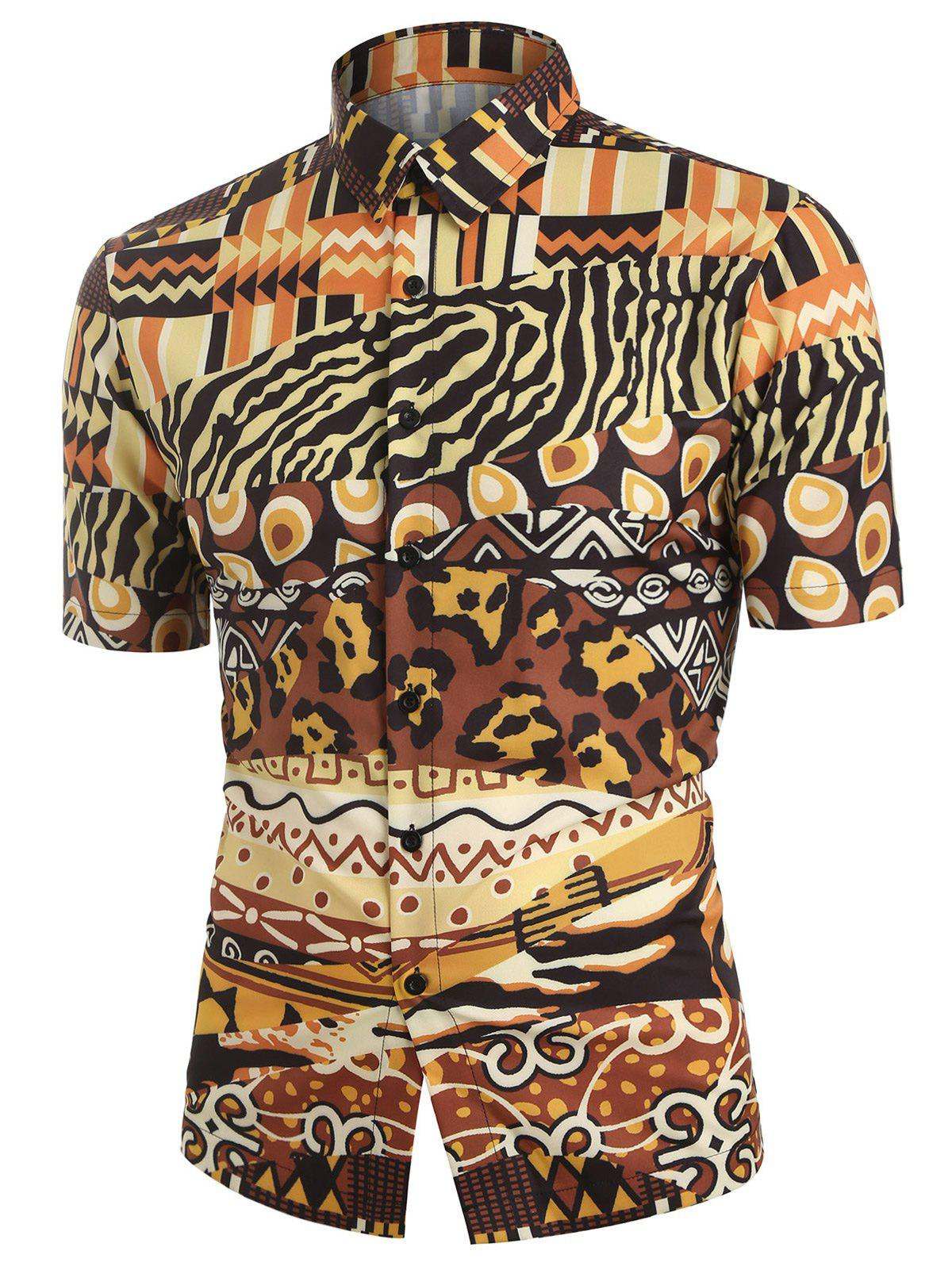 Online Leopard Animal Print Short Sleeves Shirt