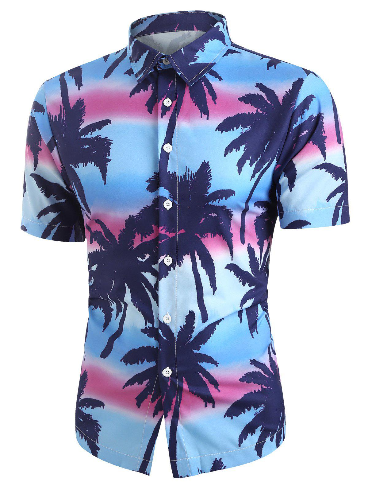 Affordable Coconut Tree Printed Button Short Sleeves Shirt