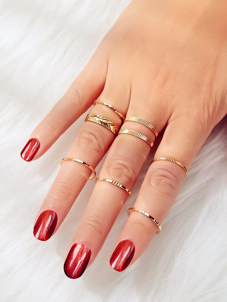 Outfits Embossed Alloy Rings Set