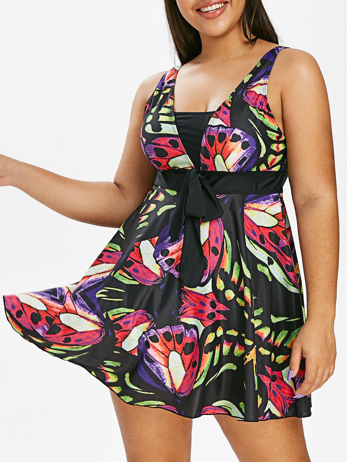 Chic Plus Size Butterfly Print Skirted Tankini Swimsuit