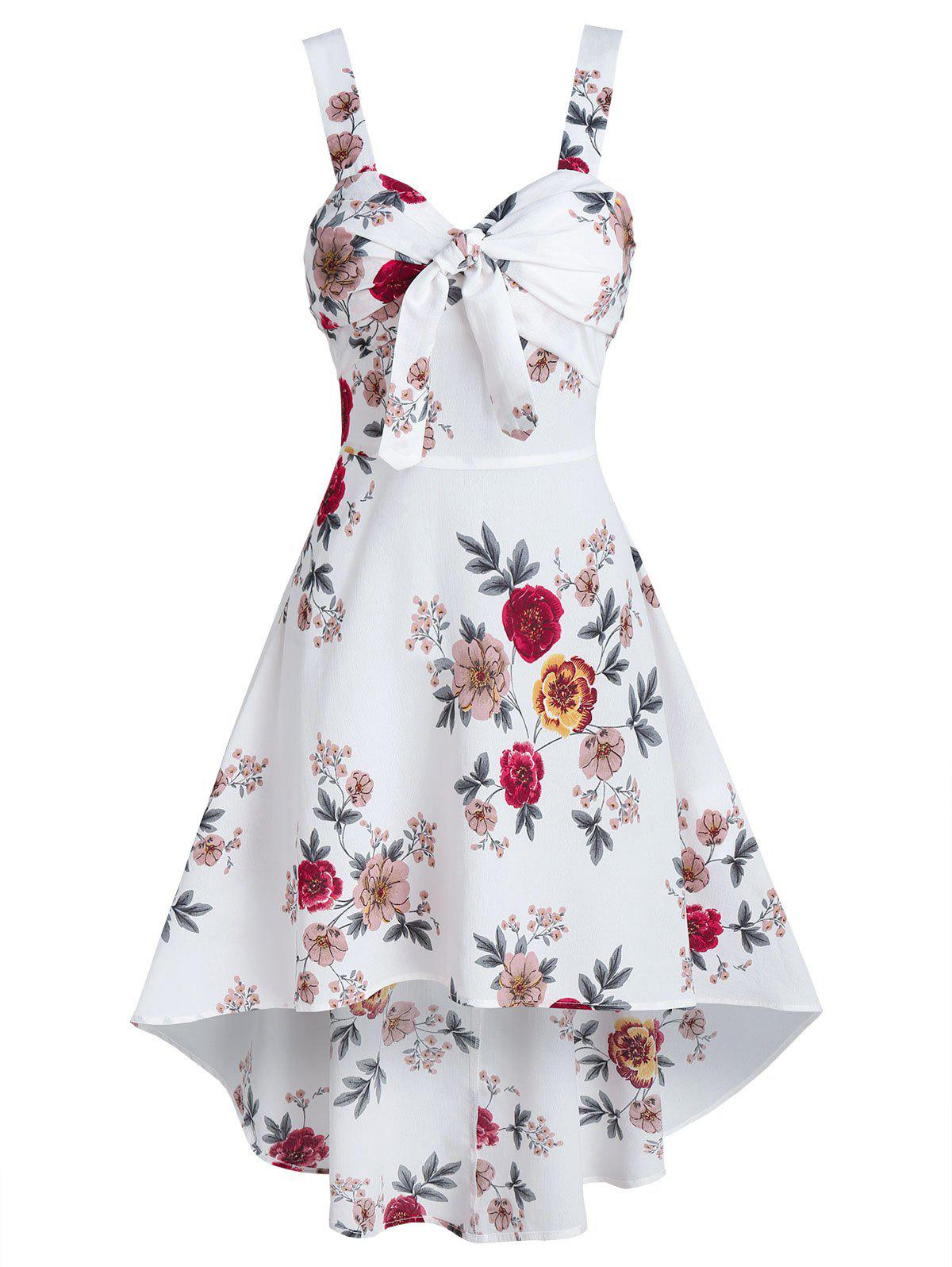 Hot Sleeveless Floral Print Knotted High Low Dress