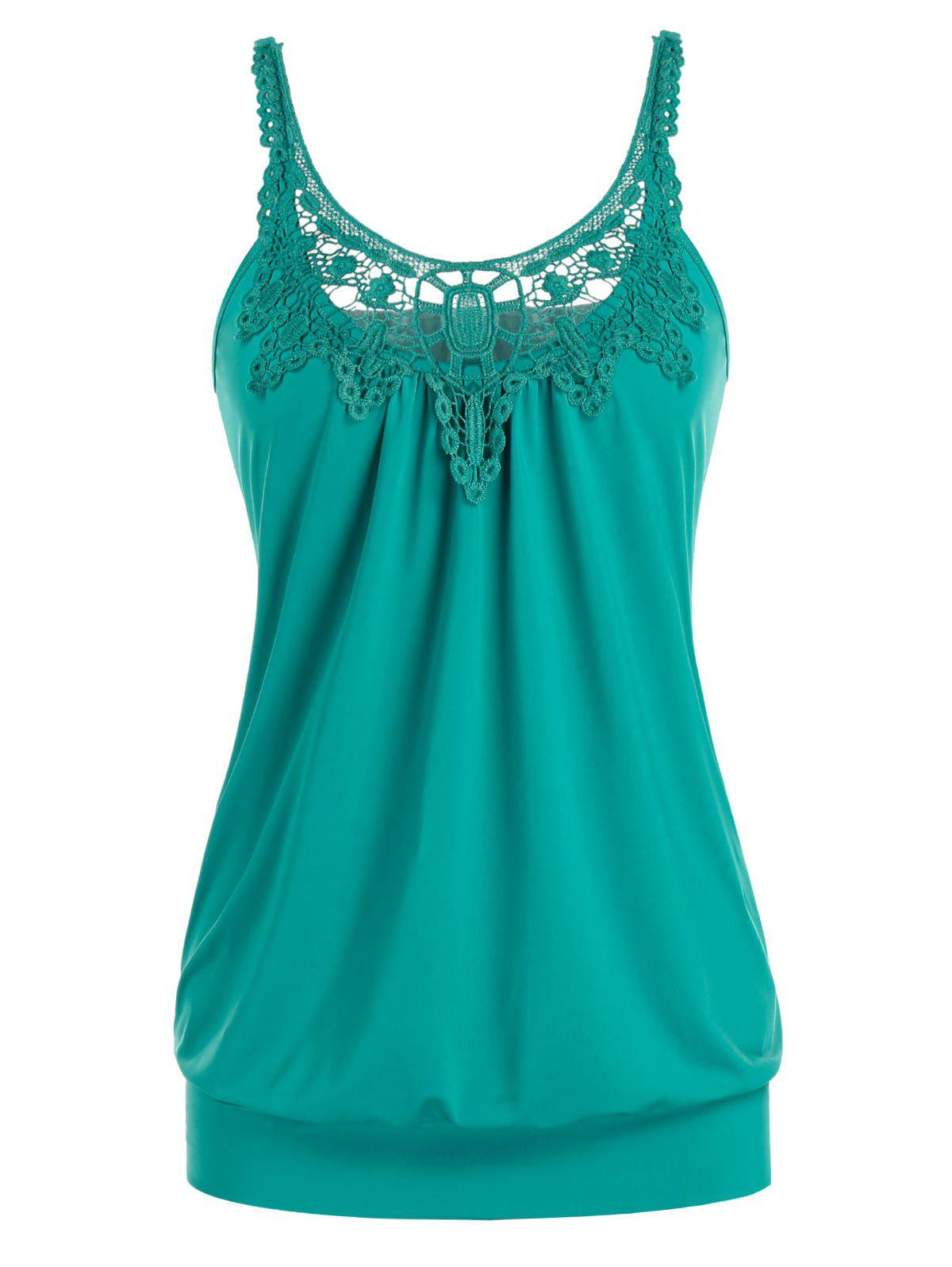 Fancy Plus Size U Neck Lace Splicing Ruched Tank Top