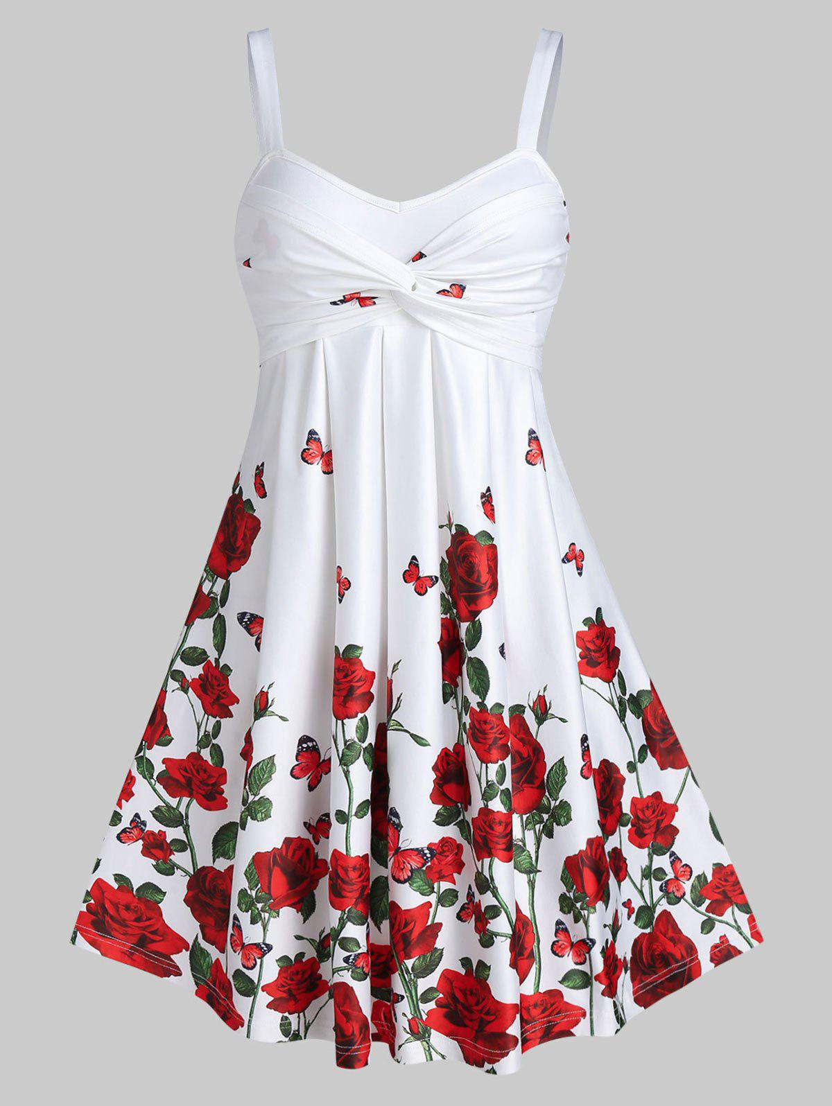Store Rose Flower Print High Waist A Line Dress