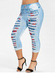Plus Size 3D Ripped Print Capri Leggings -