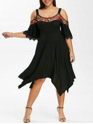 Plus Size Cold Shoulder Embroidered Handkerchief Dress -