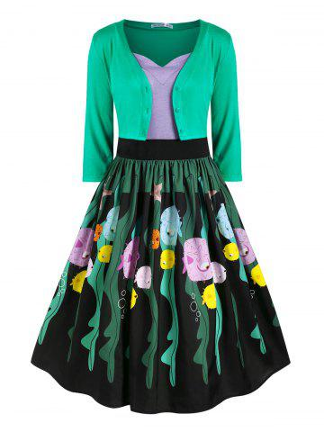 Button Up Cardigan And Strappy Funny Fish Print Dress Set - GREEN - L