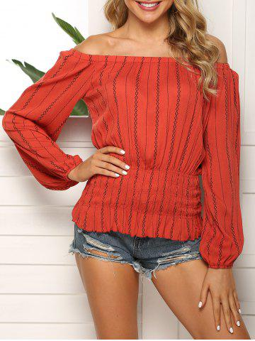 Striped Pattern Smocked Waist Off The Shoulder Blouse - RED WINE - M
