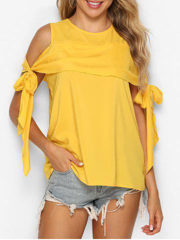 Knotted Cold Shoulder Flounce Blouse