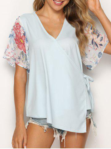 Asymmetric Flower Print Knotted Wrap Blouse