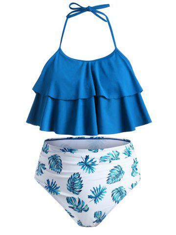 Tie Back Layered Flounces Leaves Print Plus Size Tankini Swimsuit - BLUE - L