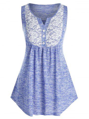 Plus Size Button Floral Lace Insert Tank Top - LIGHT SLATE BLUE - 5X