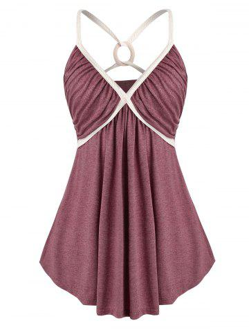 Plus Size O Ring Strappy Ruched Empire Waist Tank Top - RED WINE - 2X