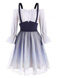 Plus Size Tulle Sequin Ombre Suspender Skirt and Off The Shoulder Dress -