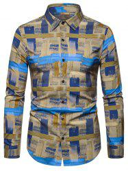 Leisure Printed Button Long-sleeved Shirt -