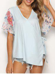 Asymmetric Flower Print Knotted Wrap Blouse -