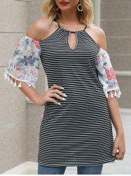 Flower and Striped Print Tasseled Cold Shoulder T-shirt -