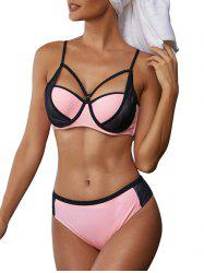 Mesh Panel Strappy Underwire Bikini Swimwear -
