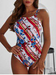 Striped Floral Print Strappy One-piece Swimsuit -