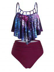 Strappy Cutout Scale Print Ruched Mermaid Tankini Set -