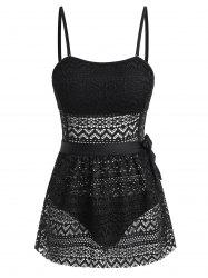 Openwork Buttoned One-piece Swimsuit with Sarong -