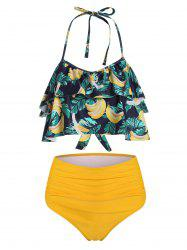 Halter Banana Leaf Print Tiered Ruffles Ruched Tankini Swimsuit -