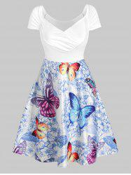 Butterfly and Flowers Print Ruched Raglan Sleeve Dress -