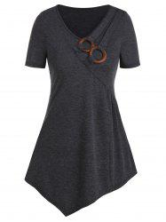 V Neck Clog O-ring Asymmetrcial T Shirt -