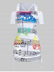 Butterfly Music Notes Print Cinched Cold Shoulder T-shirt -