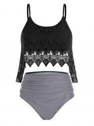 Plus Size Stripe Lace Overlay Tankini Swimwear -