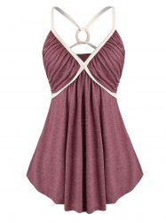 Plus Size O Ring Strappy Ruched Empire Waist Tank Top -