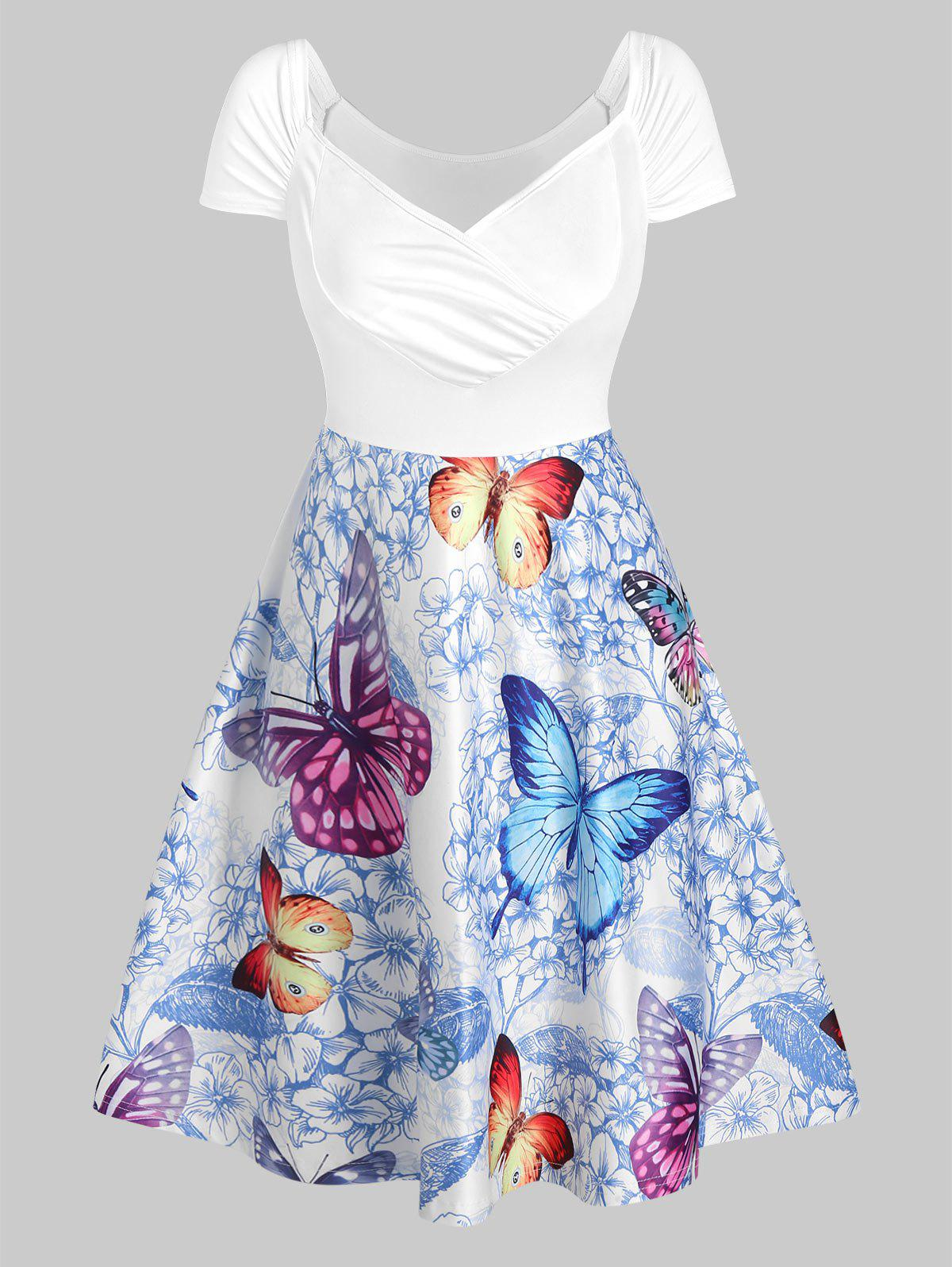 Sale Butterfly and Flowers Print Ruched Raglan Sleeve Dress
