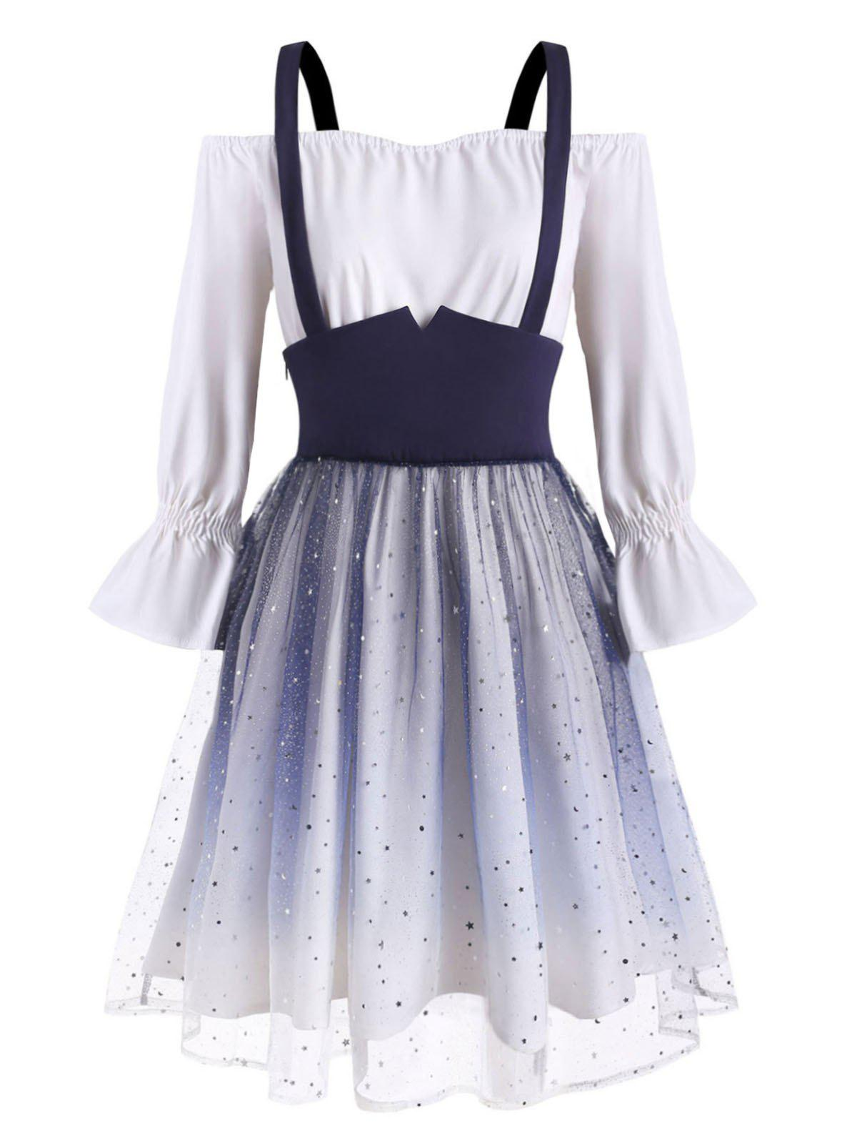 Shops Plus Size Tulle Sequin Ombre Suspender Skirt and Off The Shoulder Dress