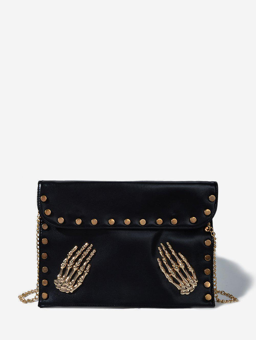 Outfit Punk Skeleton Hands Chain Crossbody Bag
