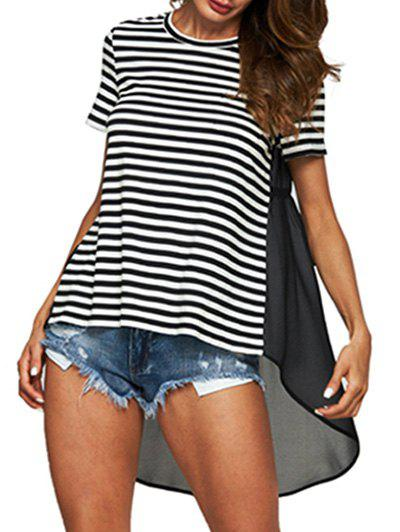 Fashion Striped Print High Low Chiffon Insert T-shirt