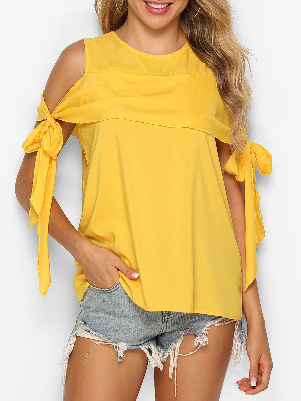 Trendy Knotted Cold Shoulder Flounce Blouse