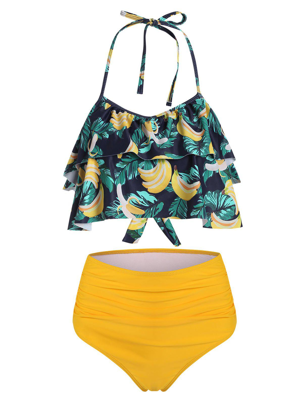 Sale Halter Banana Leaf Print Tiered Ruffles Ruched Tankini Swimsuit