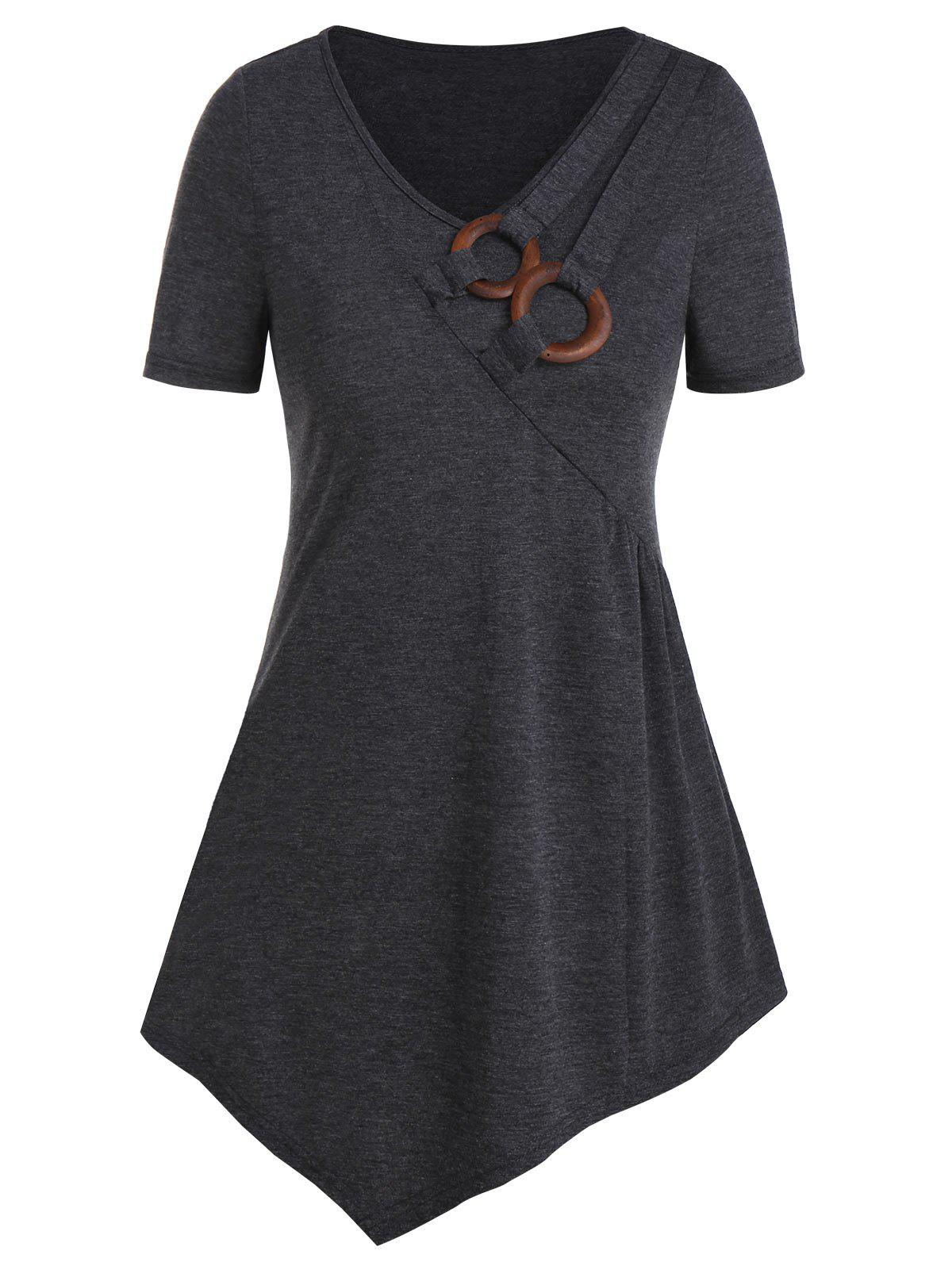 Best V Neck Clog O-ring Asymmetrcial T Shirt