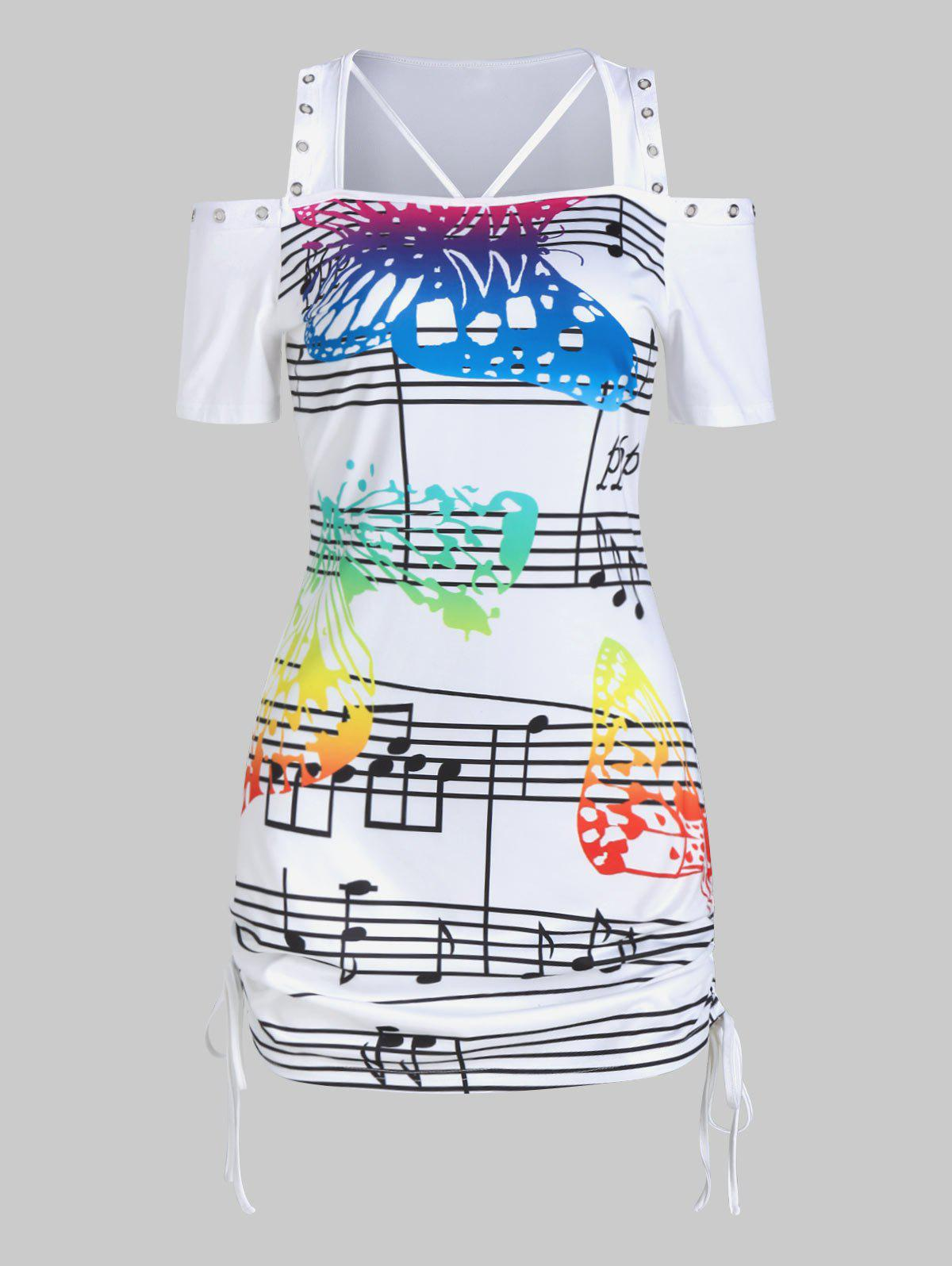 Latest Butterfly Music Notes Print Cinched Cold Shoulder T-shirt