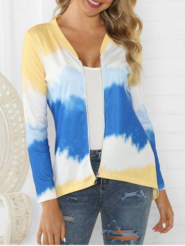 Ombre Zip Up High Low Cardigan - MULTI-A - 3XL