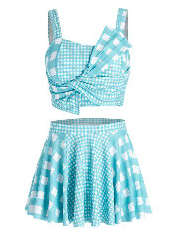 Plus Size Plaid Design Asymmetric Tankini Swimsuit - BLUE HOSTA - 1X