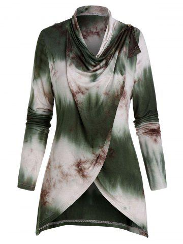 Tie Dye Print Draped High Low Cardigan