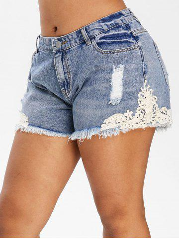 Plus Size Ripped Contrast Lace Frayed Denim Shorts - SLATE BLUE - 3X