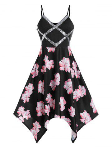 Plus Size Handkerchief Sequins Floral Print Dress - BLACK - 5X