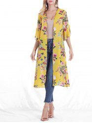 Floral Print Slit Sleeve Open Front Belted Kimono Cardigan -