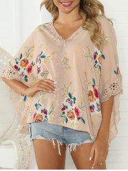 Flower Print Lace Trim Butterfly Sleeve Blouse -