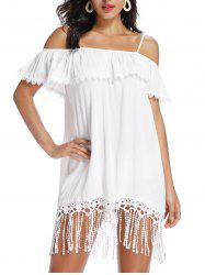 Open Shoulder Fringed Lace Trim Flounce Dress -