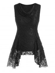 Cowl Neck Handkerchief Lace Tank Top -