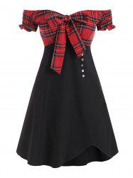 Plaid Panel Off Shoulder Tie Front Mini Dress -