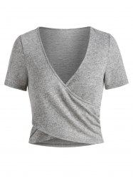 Plunge Neck Heathered Cropped Surplice T-shirt -