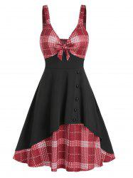 Bowknot Houndstooth Panel Cami A Line Dress -